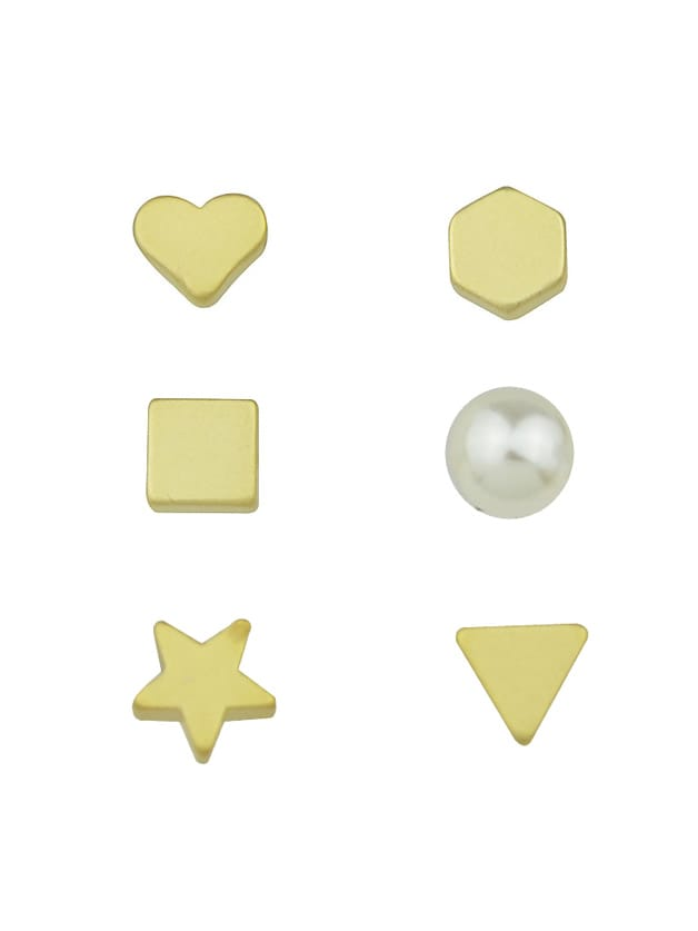 Image of 6 Pcs/Set Gold Color Heart Star Triangle Small Stud Earrings