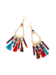 Tassel And Beaded Detail Drop Earrings