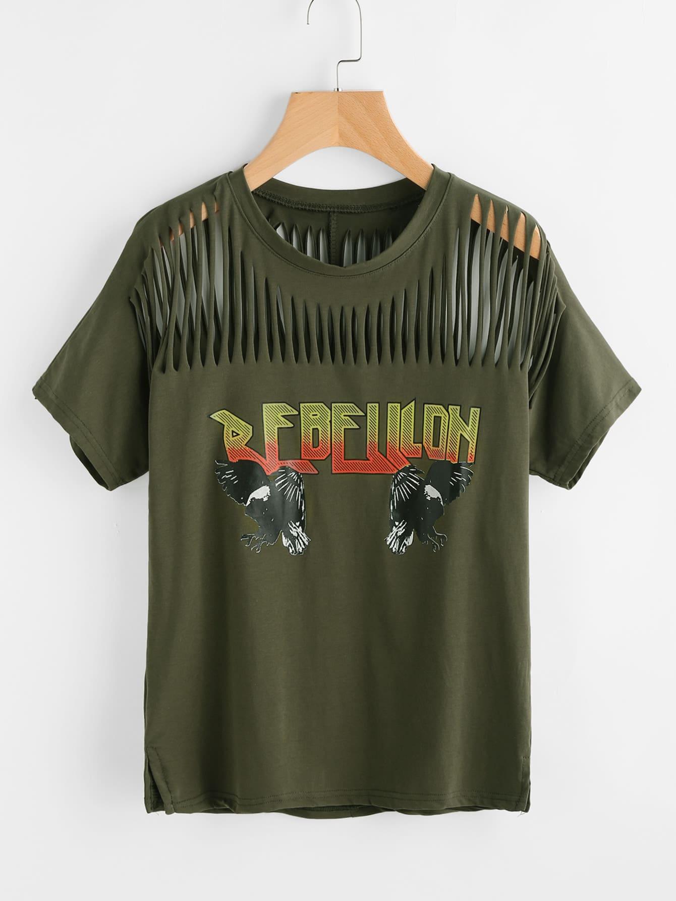 Graphic Print Ripped T Shirt Shein Sheinside