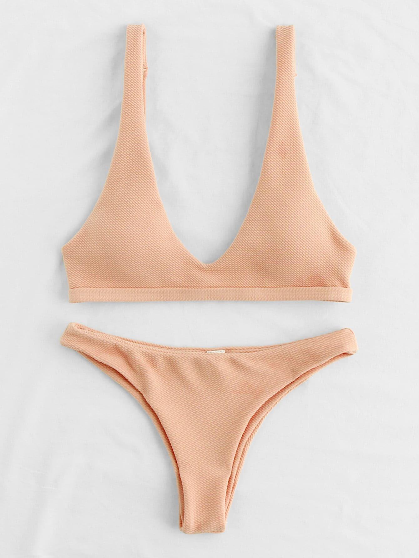 Plunge Neckline Open Back Bikini Set plunge neckline open back bikini set
