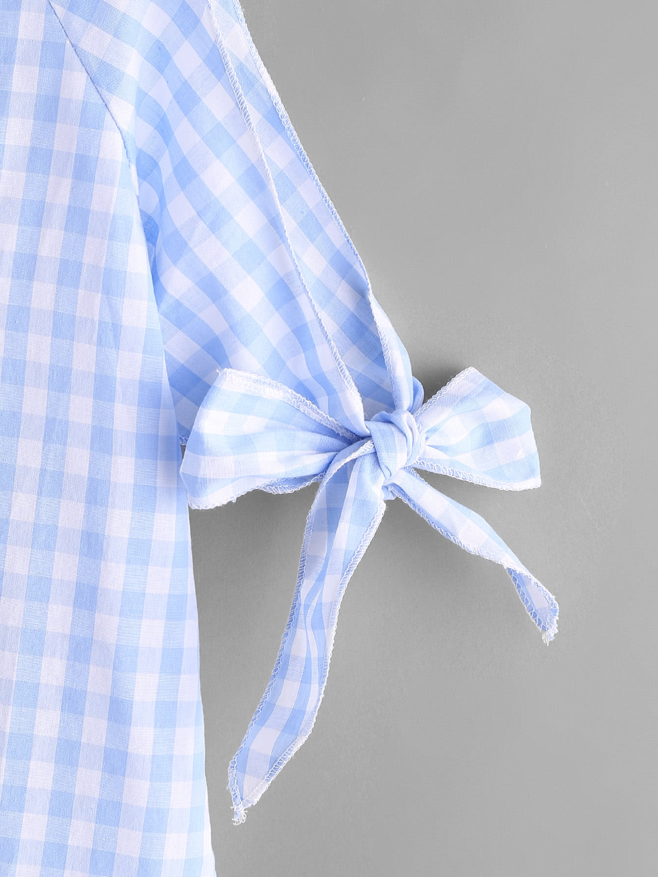 Gingham Open Shoulder Tie Cuff Blouse