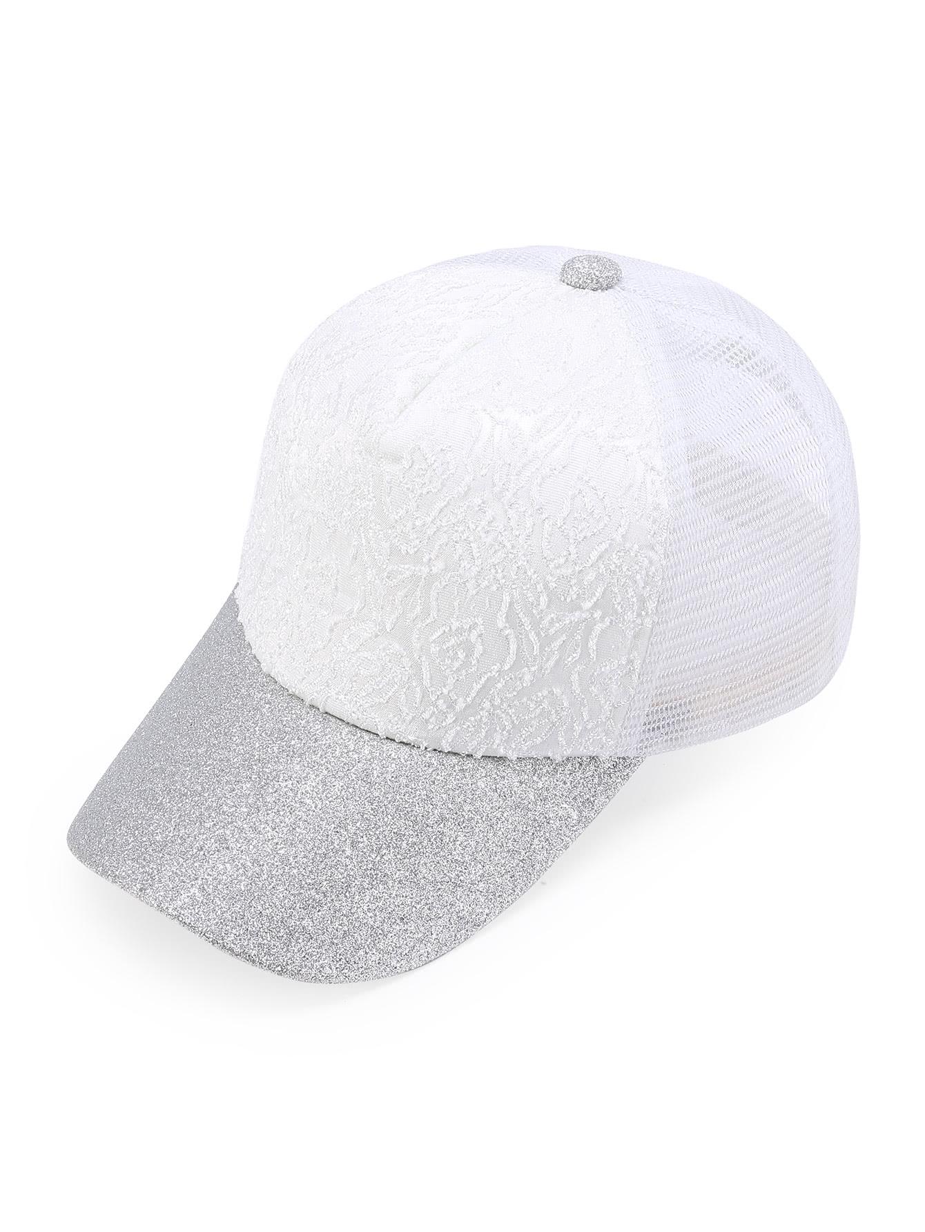 Фото Glitter Detail Lace Front Mesh Snapback Baseball Cap. Купить с доставкой