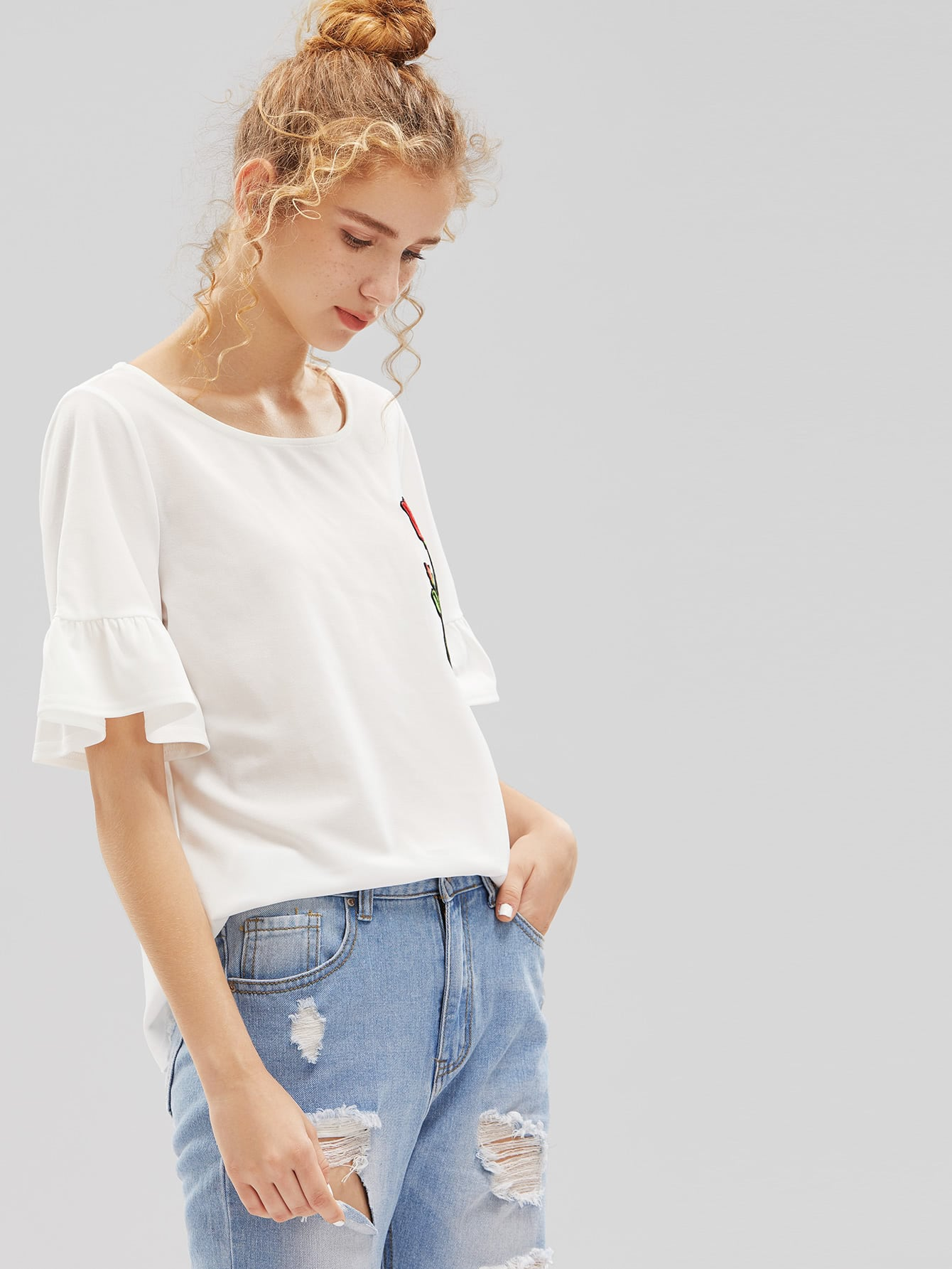 Embroidered rose patch fluted sleeve tee shein sheinside