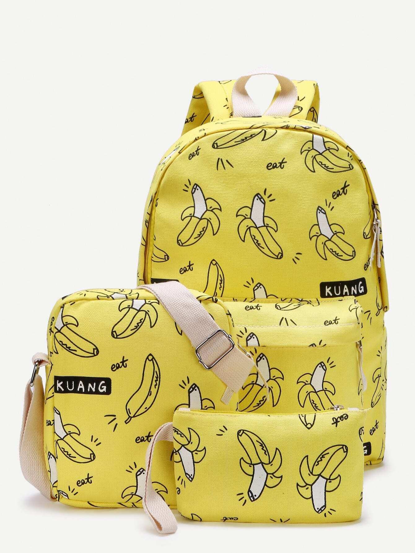 Фото Banana Print Canvas Combination Bag 3pcs. Купить с доставкой