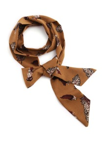 Feather Print Skinny Scarf