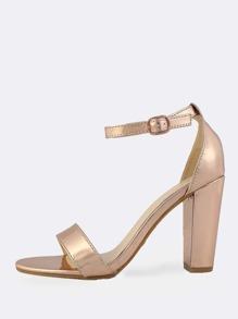 Single Band Ankle Strap Metallic Heel ROSE GOLD