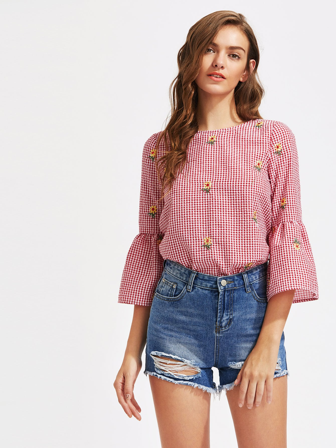 Фото V Cut Tie Back Bell Sleeve Daisy Embroidered Checkered Top. Купить с доставкой