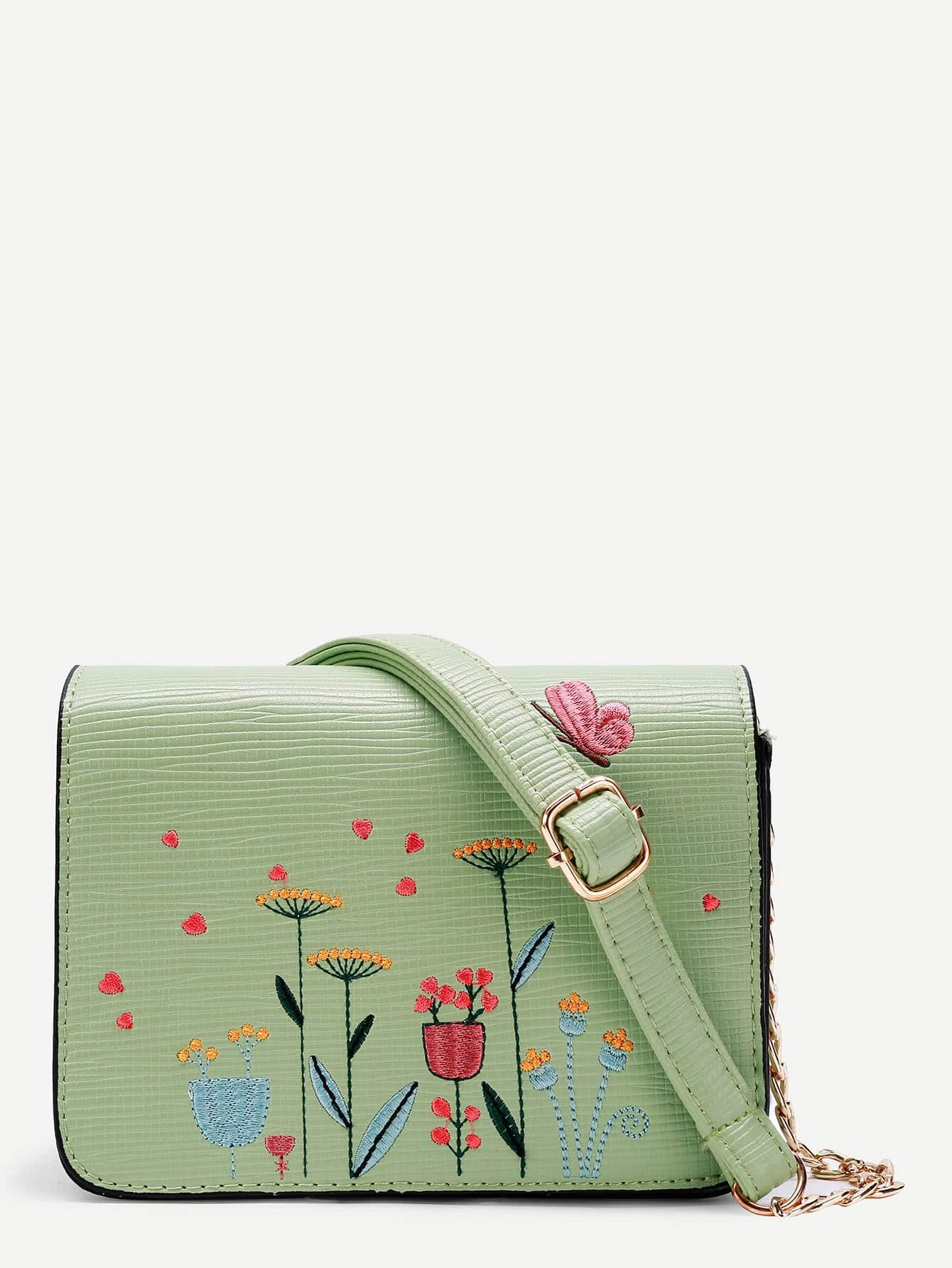 Фото Flower Embroidery PU Crossbody Bag. Купить с доставкой