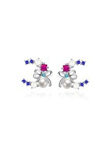 Orecchini con perle sintetiche e strass