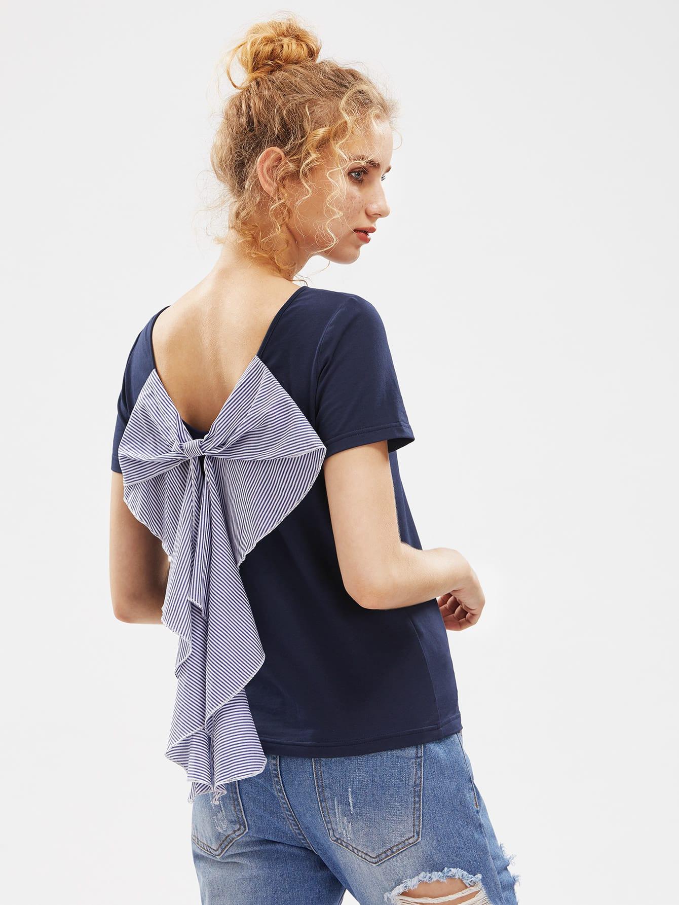 Фото Exaggerated Striped Bow Embellished T-shirt. Купить с доставкой