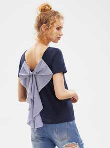 Exaggerated Striped Bow Embellished T-shirt