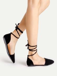 Sandales plates avec lacet ballet
