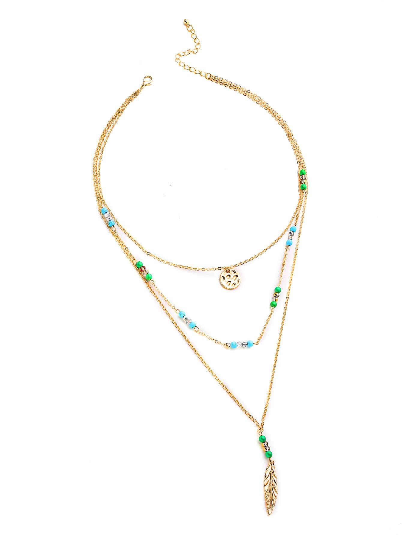 Фото Handmade Beaded Design Feather Pendant Layered Necklace. Купить с доставкой