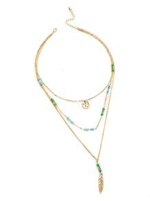 Handmade Beaded Design Feather Pendant Layered Necklace