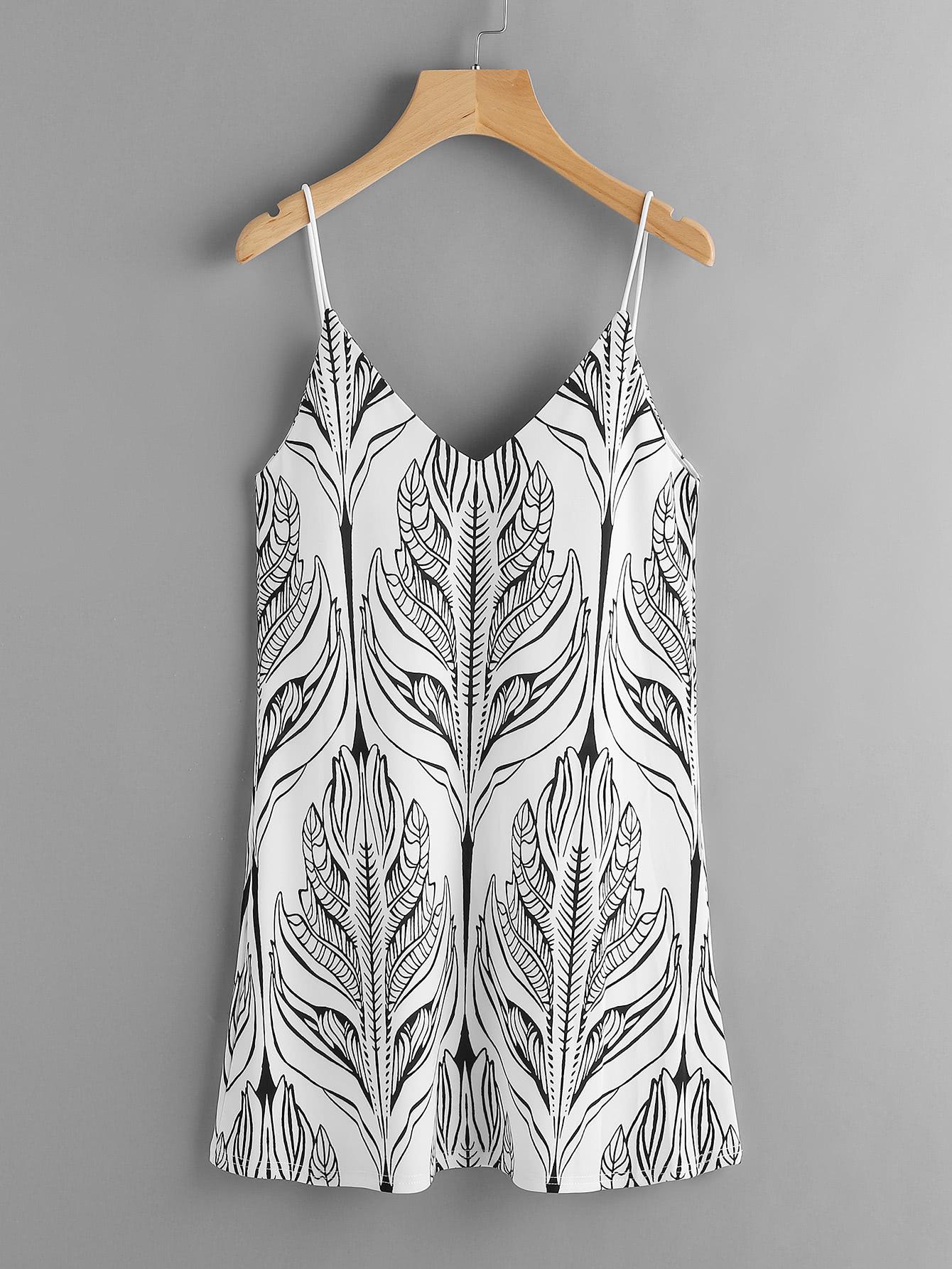 Фото Double V-neckline Seamless Pattern Cami Dress. Купить с доставкой