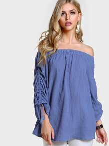 Off SHoulder Pull String Sleeve Top BLUE