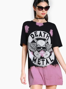 Death Metal Bleach Splatter Top BLACK PINK