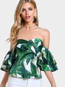 Foliage Print Layered Sleeve Smocked Sweetheart Top