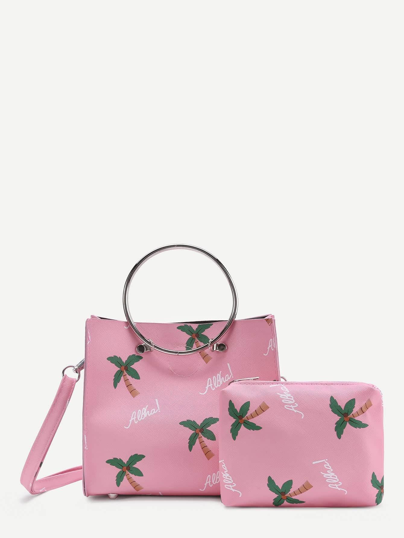 Фото Palm Tree Print PU Shoulder Bag With Clutch. Купить с доставкой