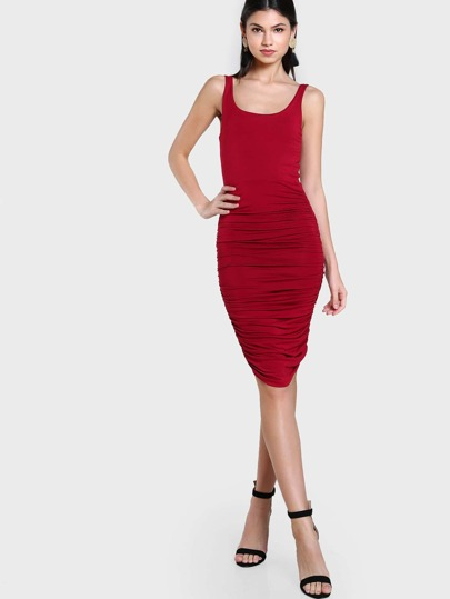 Rushed Tank Bodycon Dress BURGUNDY