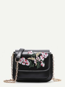 Flower Embroidery PU Flap Bag