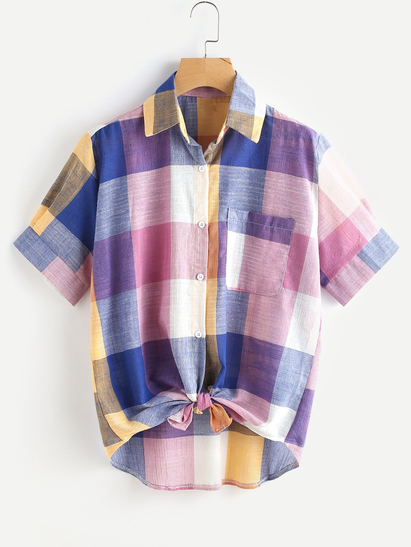 Multi-Plaid Knotted Hem Shirt
