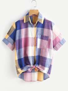 Multi-Plaid Knotted Hem Shirt