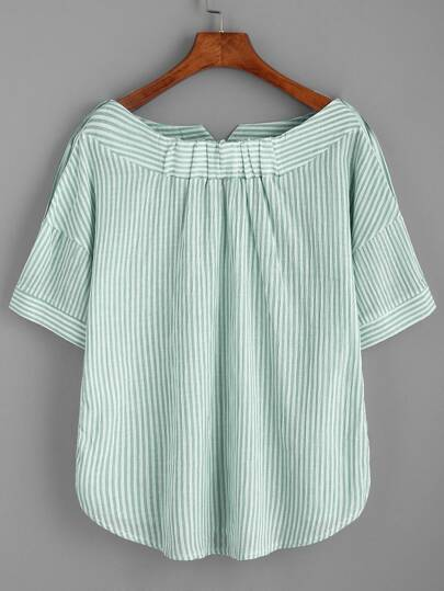 Boat Neckline Striped Blouse With Buttons