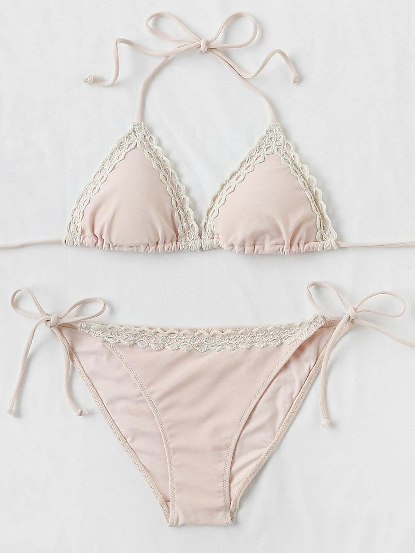 Lace Trim Self Tie Bikini Set swimwear170601346