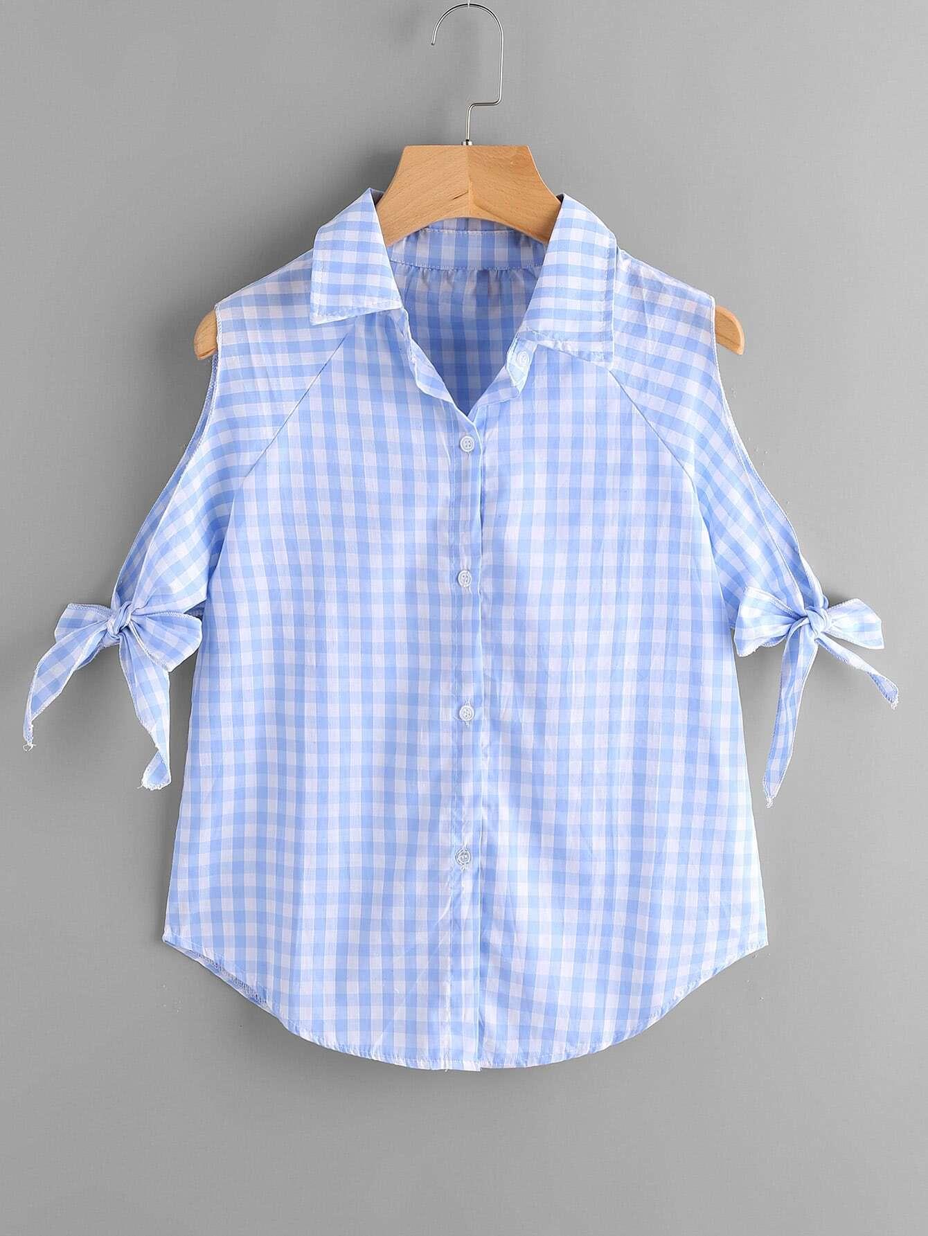 Фото Gingham Open Shoulder Tie Cuff Blouse. Купить с доставкой