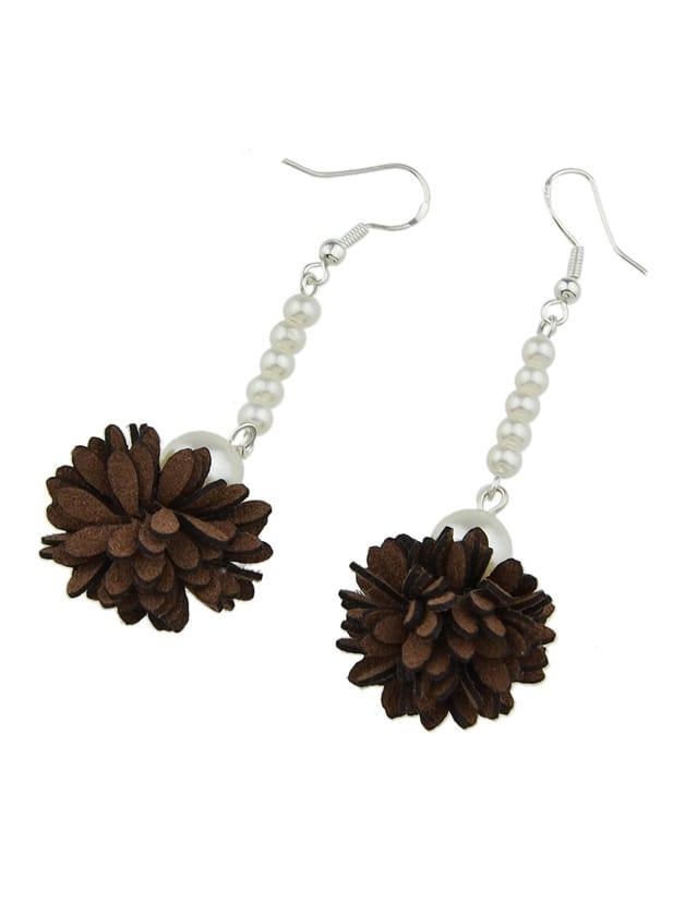 Coffee Color Imitation Pearl Flower Danling Earrings