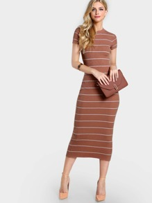 High Neck Stripe Knit Dress NUDE WHITE