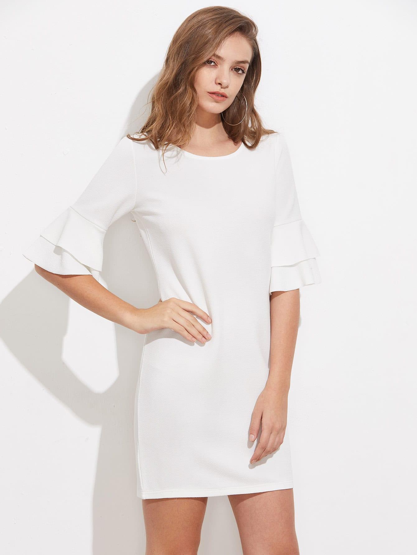 Фото Tiered Flute Sleeve Slim Dress. Купить с доставкой