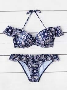 Fleur De Lis Print Ruffle Detail Bikini Set