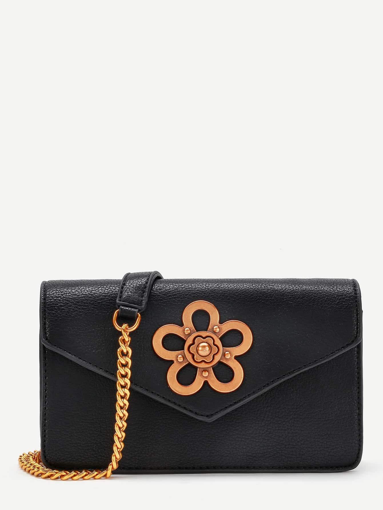 Фото Metal Flower Embellished Chain Bag. Купить с доставкой