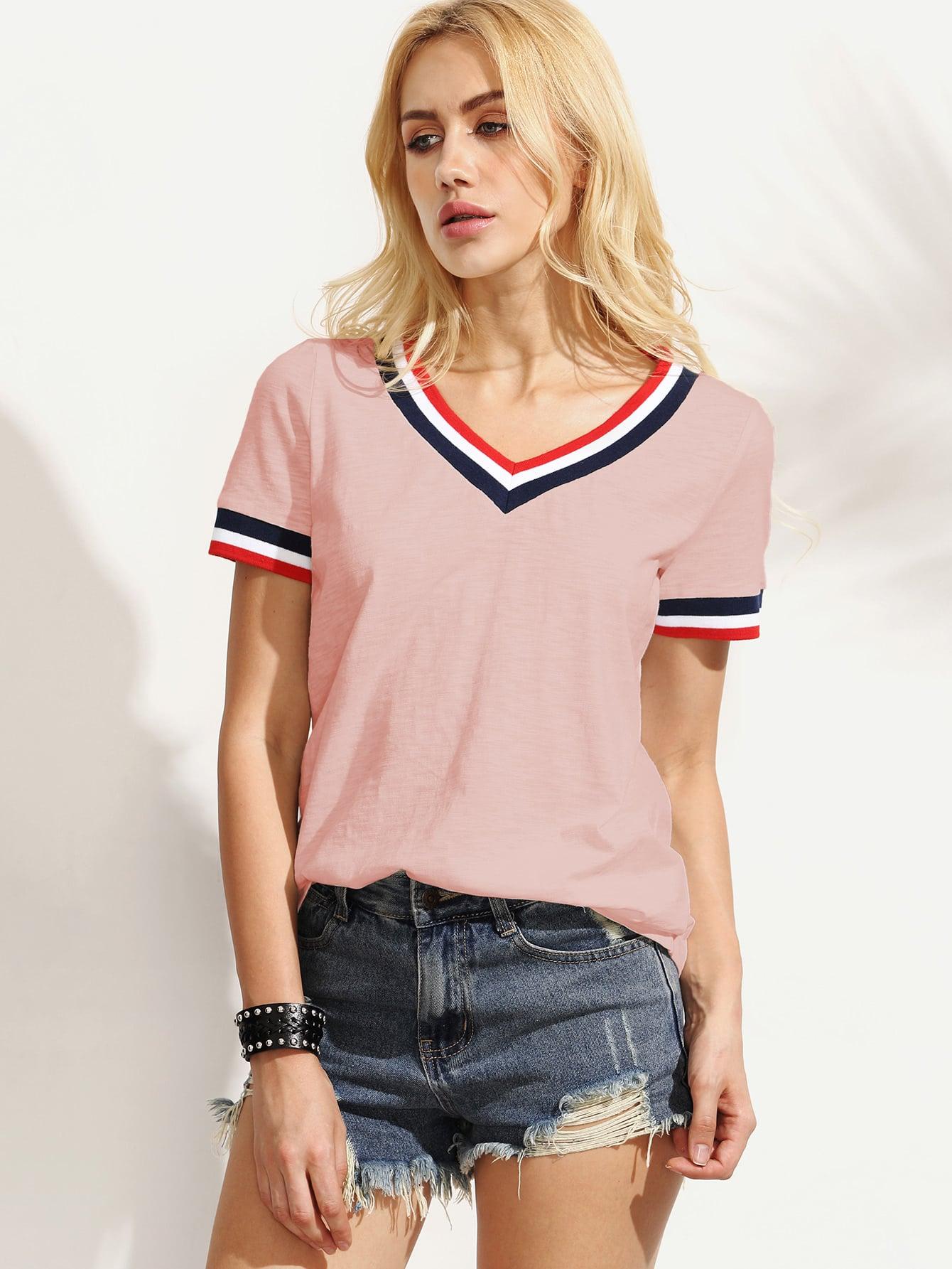 Striped Trim Slub T-shirt lace panel graphic slub t shirt