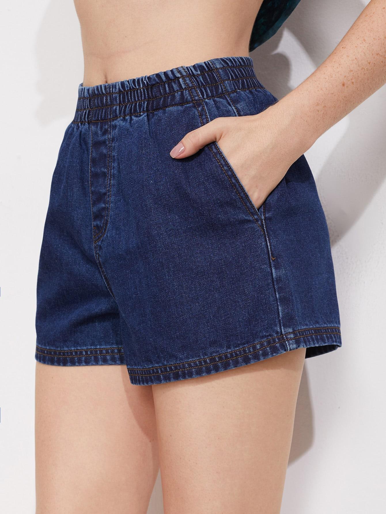 Фото Shirred Waist Faux Fly Denim Shorts. Купить с доставкой