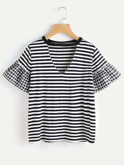 Contrast Checkered Cuff Tee