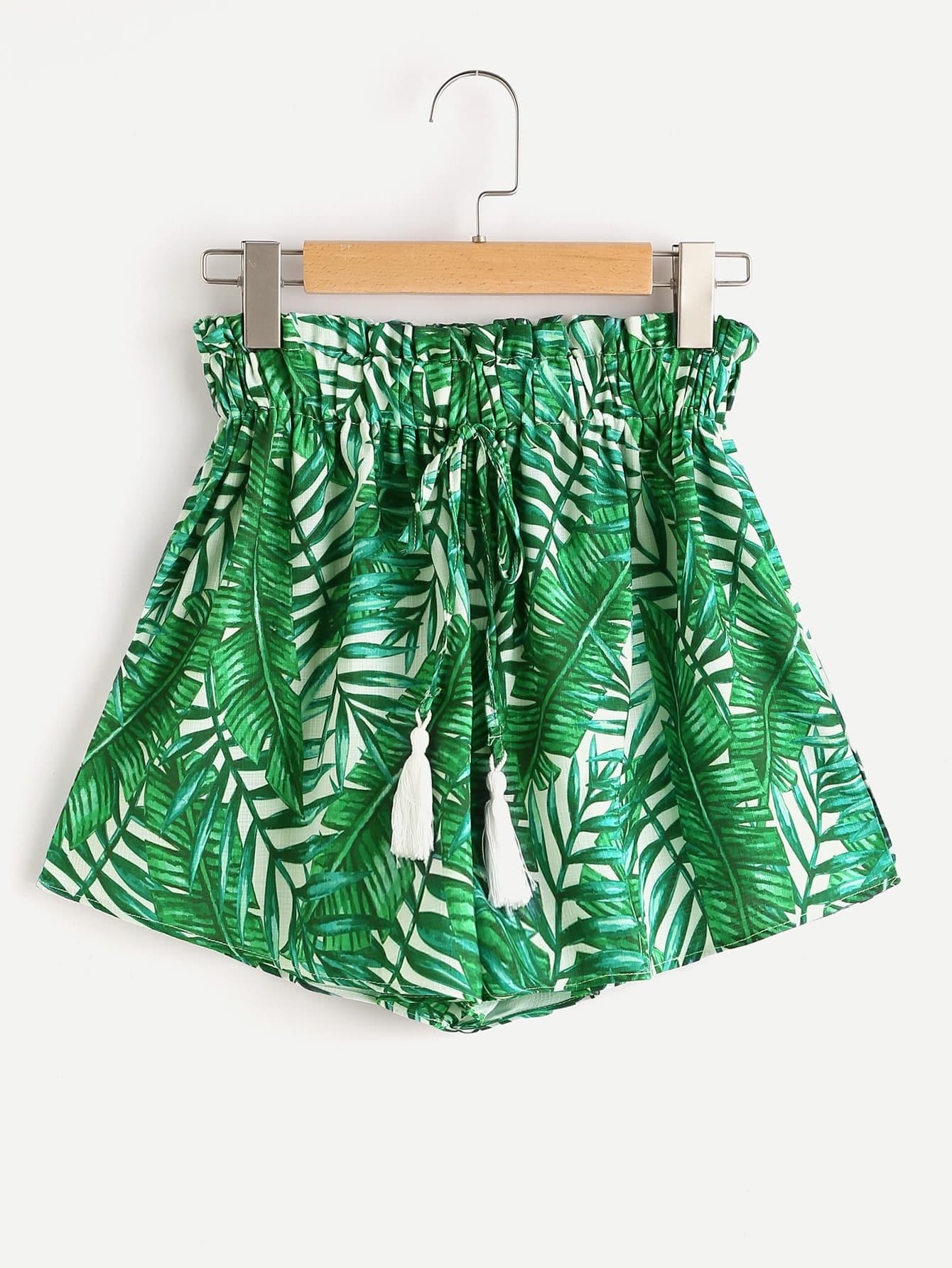 Фото Palm Leaf Print Tassel Tie Shorts. Купить с доставкой