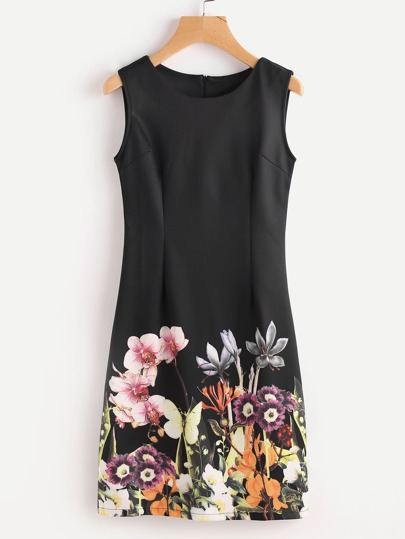Flowers Print Slim Dress