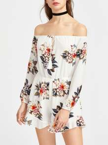 Flower Print Bardot Neckline Tie Front Romper