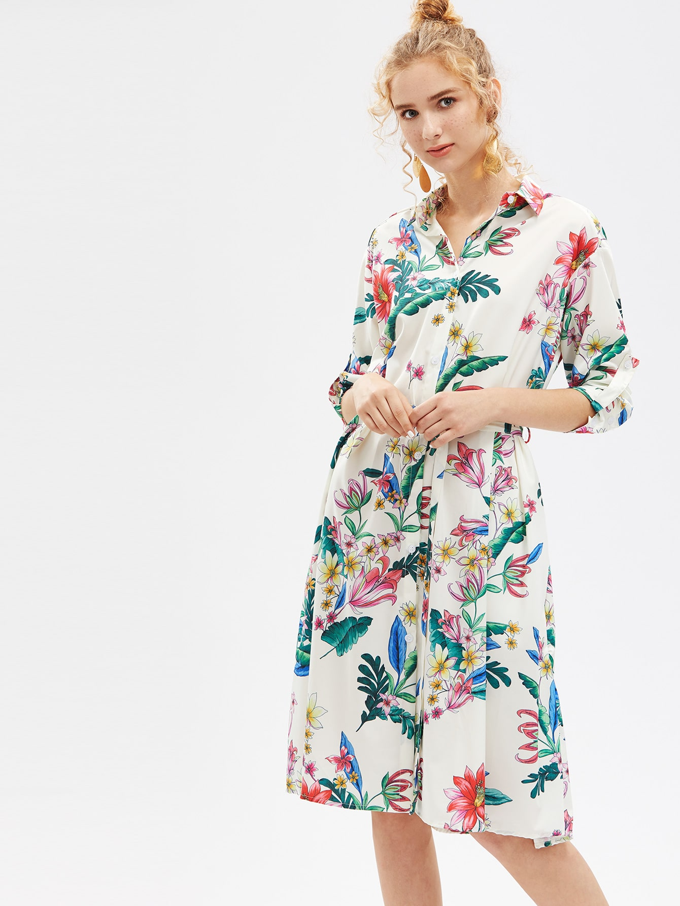 Фото Roll-Up Sleeve Shirt Dress With Self Tie. Купить с доставкой