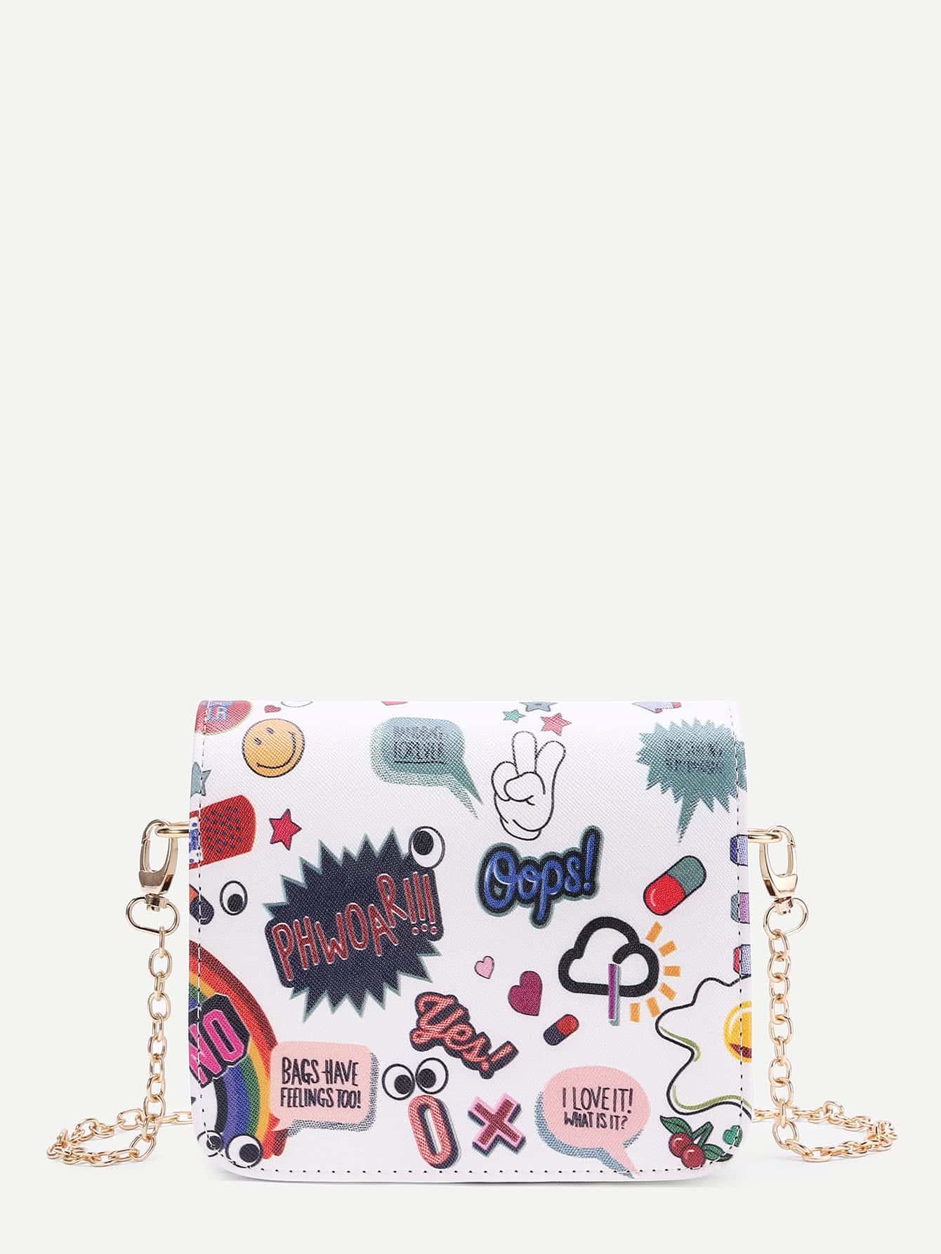 Фото Graffiti Print PU Flap Chain Bag. Купить с доставкой