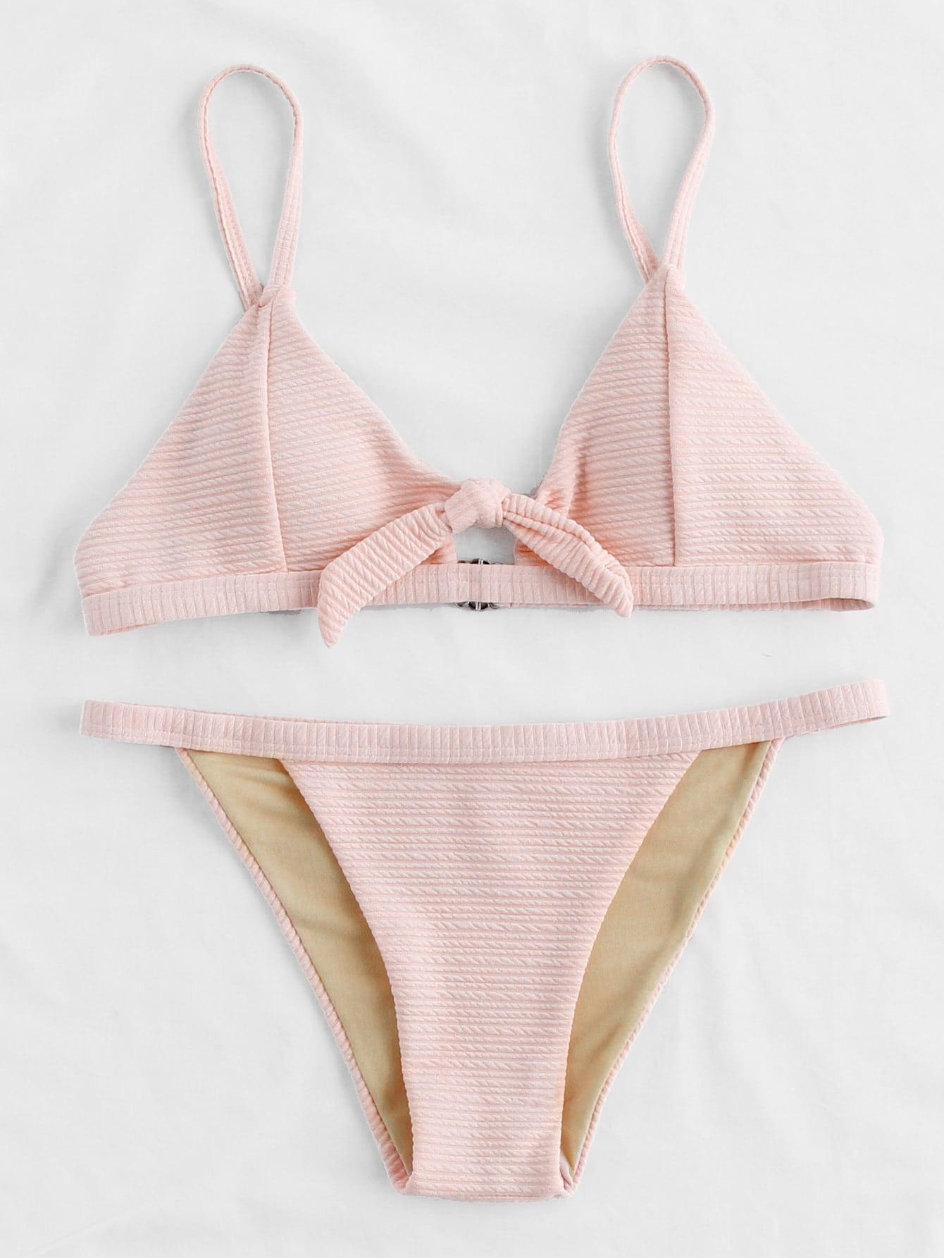 Фото Knot Front Thin Strap Textured Bikini Set. Купить с доставкой