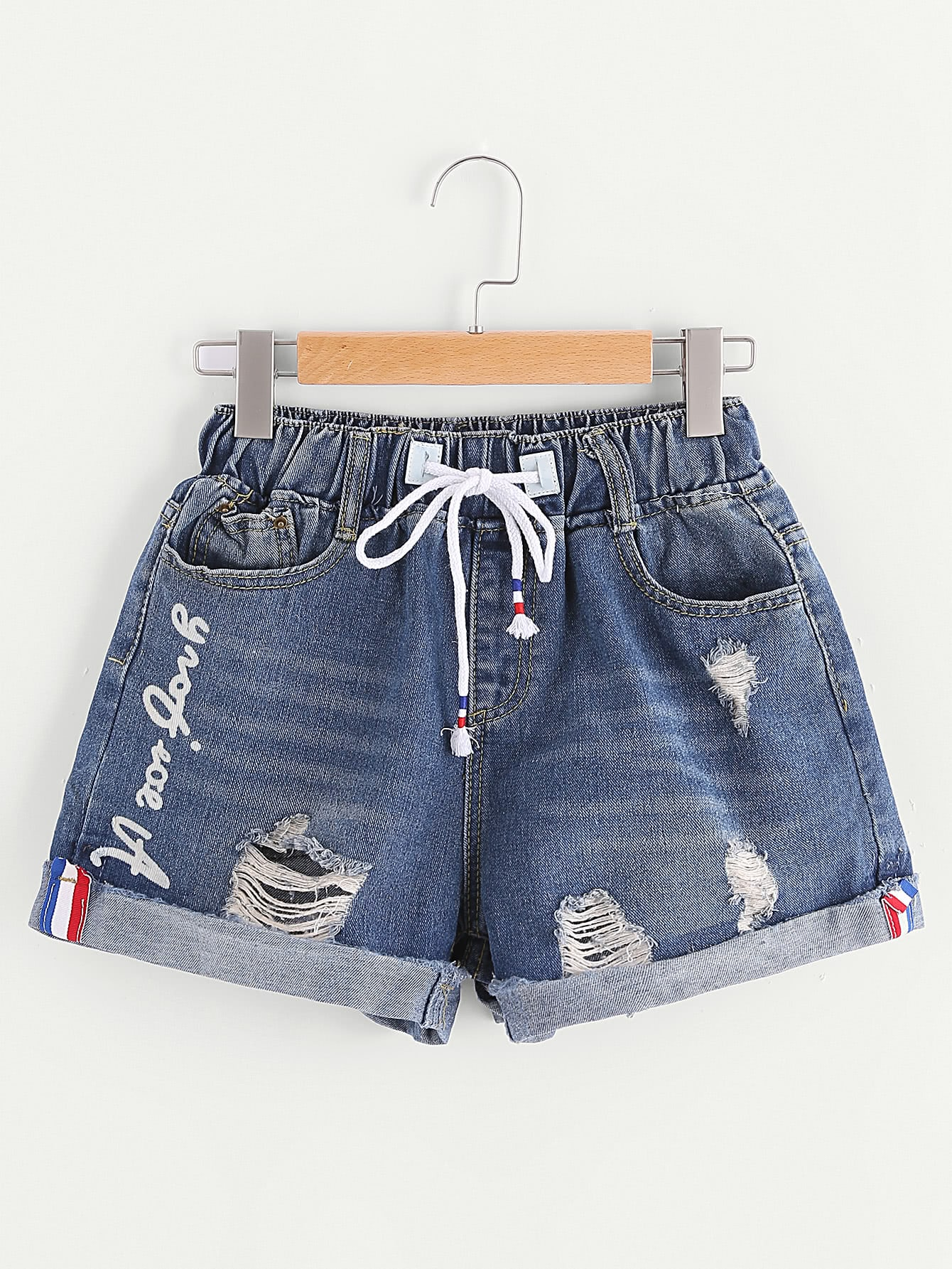 Фото Rolled Hem Ripped Drawstring Denim Shorts. Купить с доставкой