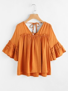 Double V Neck Bell Sleeve Frill Tiered Top