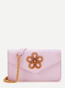 Metal Flower Embellished Chain Bag