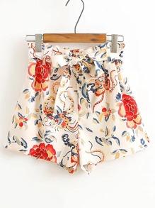 Pantaloncini floreale con laccetti in vita