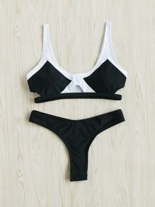 Contrast Paneled Cut Out Bikini Set