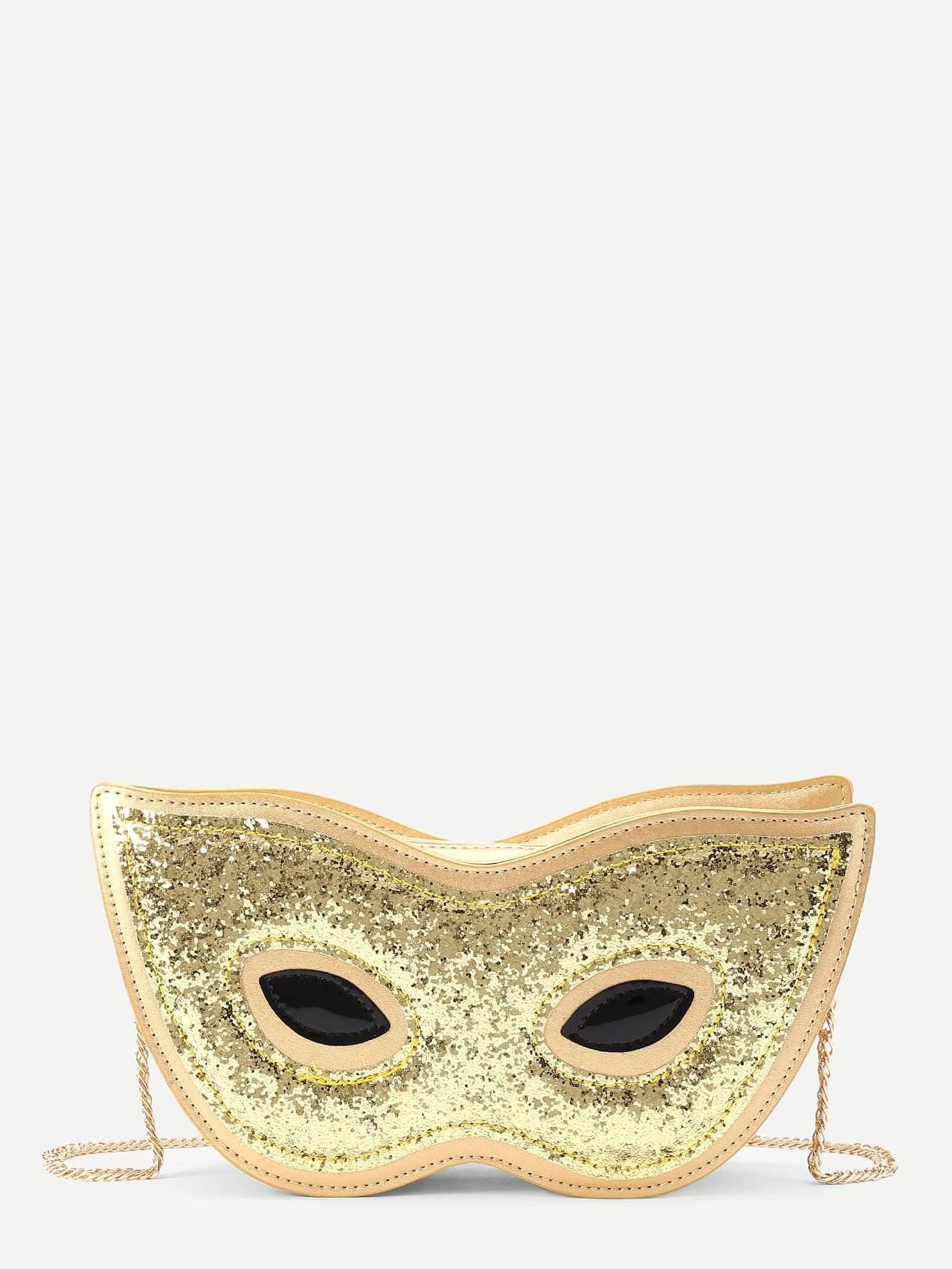 Фото Glitter Detail Cat Eye Shaped PU Crossbody Bag. Купить с доставкой